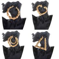 Women Fashion Rock Hip-Hop Style Big Bamboo Hoop Earrings Gold Tone Jewelry