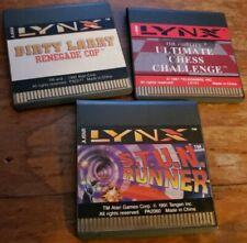Atari Lynx Game Cartridge Lot 1991-92 Dirty Larry Ultimate Chess S.t.u.n. Runner