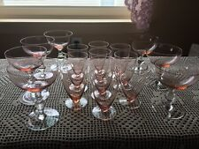 Set Of Rose Colored Dessert Glasses