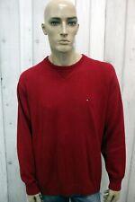 TOMMY HILFIGER Taglia XL Maglione Rosso Uomo Cotone Sweater Pullover Maglietta