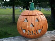 Personalized Ceramic Halloween Jack o Lantern Lamp Light TriAngle Eyes
