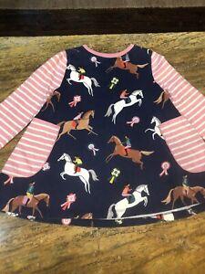 Mini Boden Girl's Printed Jersey pocket Tunic 9-10 Horses