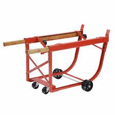 Heavy Duty Drum Cradle, Wood Handles & Steel Wheels, Red