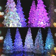 Table Icy Crystal Christmas Trees Light Decoration LED Changing Lamp