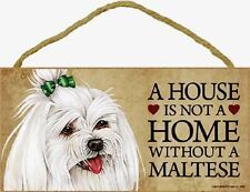 Maltese Wood Dog Sign Wall Plaque 5 x 10 for Dog Lovers Gift House Leash Picture