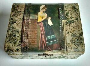 Vtg Victorian Celluloid WOMAN w/ HANDKERCHIEF Dresser Vanity Jewelry Glove Box