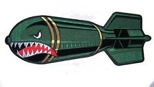 JUMBO EMBROIDERED MILITARY MISSILE SHARK FACE PATCH JBP083 10 INCH sew iron back