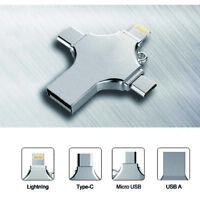 256GB 4 in 1 Type-c Pendrive USB Flash Drive Memory Stick For iPhone Android PC