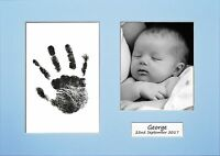 Hand Print Footprint Kit Personalised Baby Shower Gift Baby Blue Mount