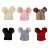 WINTER BABY WARM THICKENED SOLID COLOR DOUBLE POMPOM BEANIE CAP HAT UNISEX