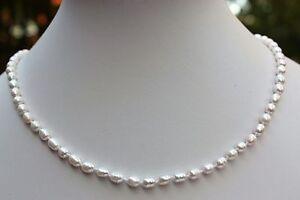 A24 40cm Echt Süßwasser Perlen Schmuck Perlenkette Halskette Kette Collier