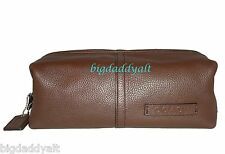 COACH MENS PEBBLED LEATHER MAHOGANY BROWN TRAVEL BAG TOILETRY SHAVING KIT 77260