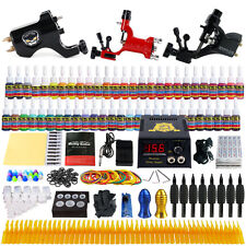 Solong Beginner Complete 3 Tattoo Machines Kits Rotary Guns 54 inks Power Grips