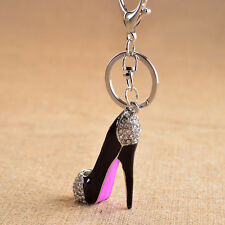 Rhinestone Crystal Shoe High Heel Pendant Purse Bag Key Ring Chain Keychain 1PC