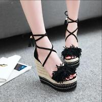 Womens Fringe Wedge High Heels Platform Peep Toe Braided Lace Up Sandals Fashion