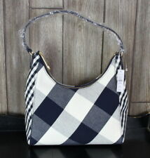 New Talbots Navy Blue Off White Check Handbag Womens Shoulder Canvas Purse $149