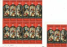 St. Vincent  1973 Easter 'The Last Supper' Religion / Art 15c. $1 60c. Block x 2