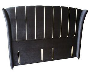 Royale High Floor winged 4FT6 DOUBLE headboard Navy Blue Velvet