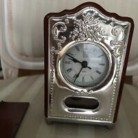 ITS Italian Sterling Silver & Wood Mantle Desk Clock Quartz Battery Mint Conditi