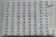 Pink Pearl Earrings 925silver #f2856! wholesale 50pairs Natural 6mm White purple