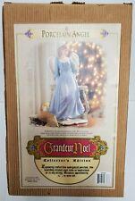 Grandeur Noel Porcelain Angel Figurine Blue Gown Dress Flower (Y186) 12In