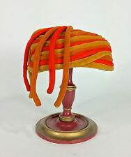 Vintage 1950's-60's 60s Avant garde Sunset colors NOODLES velvet Piping hat