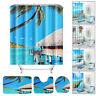 Sea Beach Waterproof Non-Slip Bathroom Shower Curtain Set Toilet Cover Mat