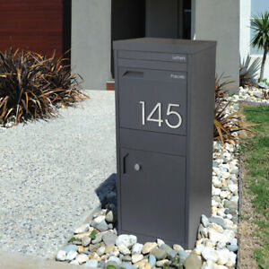 Milkcan - PARCEL | Letterbox CHARCOAL Large A4 Mailbox Front AND Rear Open Doors