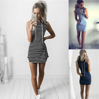 Women Striped Hoodies Sleeveless Pocket Short Casual Mini Dress T Shirt Sundress