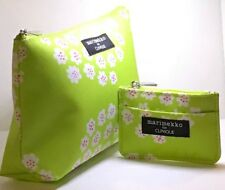 2 pcs Clinique Marimekko Cosmetic Bag Large + Small Green Flower  NEW!