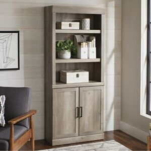 Better Homes & Gardens Glendale 5 Shelf Bookcase with Doors, Rustic Gray Finish