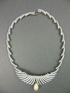 Chrome Strass Collier mit Wachs Perle um 1930