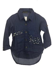 Girl's Denim Blouse Shirt 4-14 Years peal pocket patten NEW