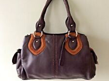 CLARKS real leather ladies two tone brown tote handbag