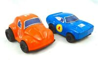 RARE Vintage Tin Toy Car Lot Of 2 Clover Toys Made In Korea