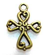 100Pcs. WHOLESALE Tibetan Antique Bronze CROSS Charms Ear Drops Pendants Q0626