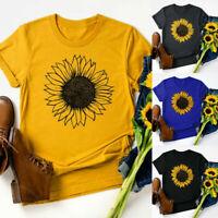 Women Plus Size Sunflower Print Round Neck Short Sleeved T-shirt Blouse Tops