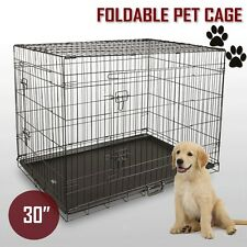 "30"" Pet Dog Cage Collapsible Metal Crate Kennel Portable Puppy Cat Rabbit House"