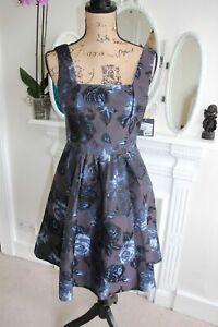 BNWT MUSE 8 10 S Dark Purple Blue Floral A-Line Tea Dress Sleeveless XS V Back
