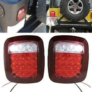 16LED Stop Tail Lights Rear Brake Lamps For Jeep Wrangler TJ CJ 76-06