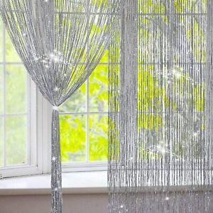Silver Glitter Fringe Door String Curtain Window Panel Room Door Divider Tassel
