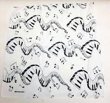 Bandanna Scarf Handkerchief Black White Musical Notes Piano Keys Treble Clef