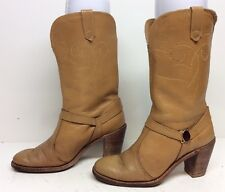 WOMENS ACME HARNESS COWBOY LEATHER LIGHT BROWN BOOTS SIZE 5 M