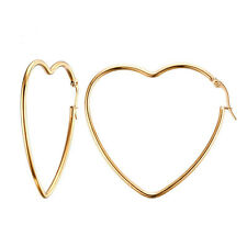 18K Gold Plated Stainless Steel Big Heart Shaped Hoop Earrings Women's Jewellery