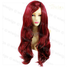Red Burgundy Fabulous Wavy Layered Skin Top Long Ladies Wig From WIWIGS UK