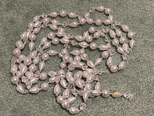 5 9' Plastic Christmas Tree Garlands Pearl Teardrop Clear Faceted & Silver Beads