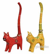 """7"""" Cat Long Tail Cute Ring Holder Hand Dot Painting Wooden Hand Carved Colorful"""