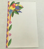 Vintage stationery writing paper colorful parrot toucan bird print  parrot head
