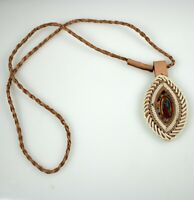 Necklace Escapulario Virgen de Guadalupe Oval Braided Color Brown