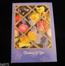 Leanin Tree Thinking Of You Flowers Blank Inside Greeting Card Multi Color R290
